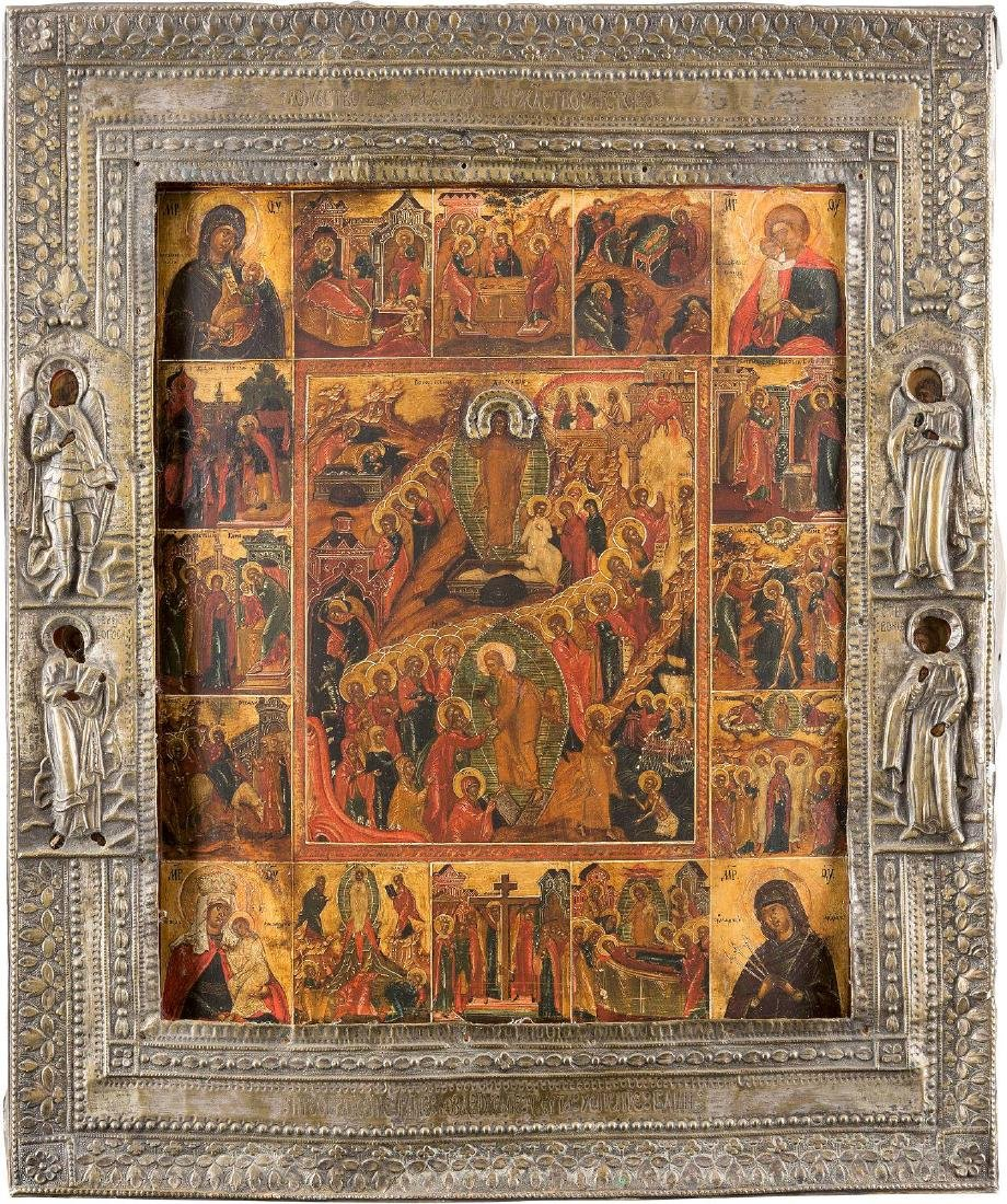 A LARGE ICON SHOWING THE RESURRECTION AND DESCENT INTO
