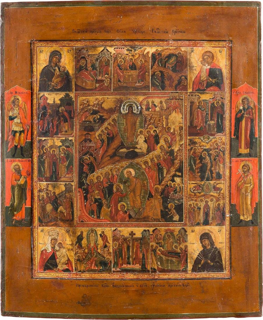 A LARGE ICON SHOWING THE RESURRECTION AND DESCENT INTO - 2