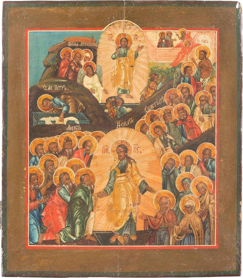 AN ICON SHOWING THE ANASTASIS Russian, 19th century