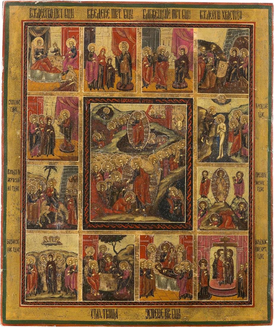 A LARGE FEAST DAY ICON Russian, 19th century Tempera on