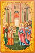 A LARGE ICON SHOWING THE PRESENTATION OF CHRIST TO THE