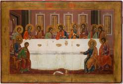 A LARGE ICON SHOWING THE LAST SUPPER Russian 19th