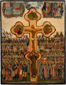A LARGE ICON SHOWING THE CRUCIFIXION OF CHRIST AND