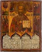 A LARGE ICON SHOWING ST. NICHOLAS OF MYRA, SELECTED