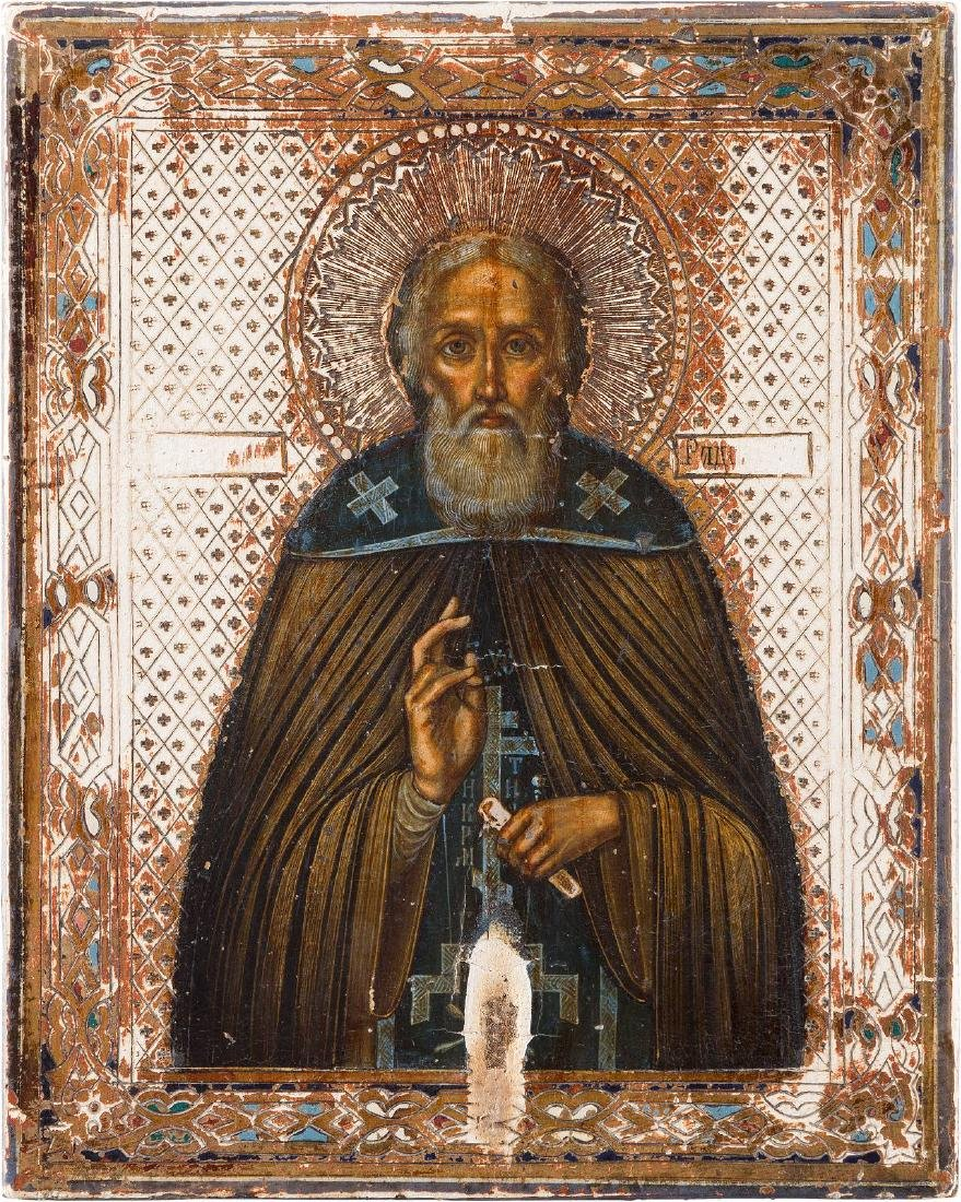 A SMALL ICON SHOWING ST. SERGIUS OF RADONEZH Russian,