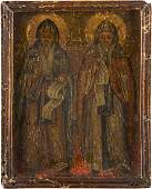 AN ICON SHOWING TWO MONASTIC SAINTS Greek, 19th century
