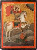 AN ICON SHOWING ST GEORGE KILLING THE DRAGON Greek