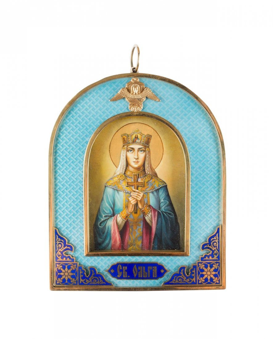 ST. OLGA WITH A GUILLOCHÉ ENAMEL FRAME 2nd half 20th