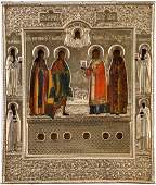 A RARE ICON SHOWING FOUR SELECTED SAINTS AND SIX RELICS