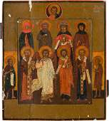 AN ICON SHOWING A SELECTION OF EIGHT PATRON SAINTS