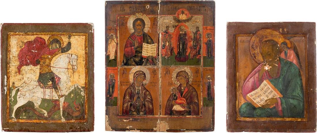 FIVE ICONS: A QUADRI-PARTITE ICON, ST. JOHN THEOLOGIAN