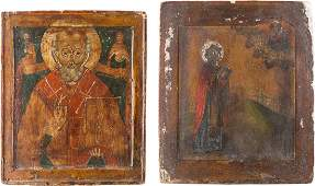 TWO ICONS: ST. NICHOLAS OF MYRA AND ST. ANTIPAS
