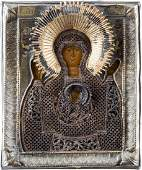 A SMALL ICON SHOWING THE MOTHER OF GOD OF THE SIGN WITH