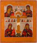 A QUADRIPARTITE ICON SHOWING FOUR IMAGES OF THE MOTHER