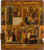 A FINE QUADRIPARTITE ICON SHOWING IMAGES OF THE MOTHER