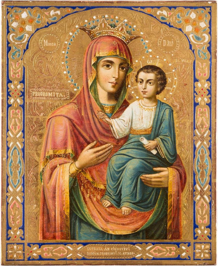A RARE ICON SHOWING THE MOTHER OF GOD PRODOMITA Mount