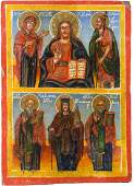 A TWO-PARTITE ICON SHOWING THE DEISIS AND THREE