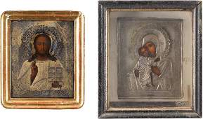 TWO ICONS WITH SILVER OKLADS CHRIST PANTOKRATOR AND