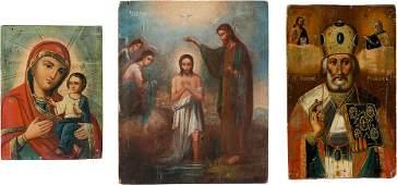THREE ICONS SHOWING THE TIKHVINSKAYA MOTHER OF GOD, THE