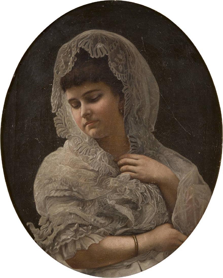 Junge Dame mit Spitzenhäubchen