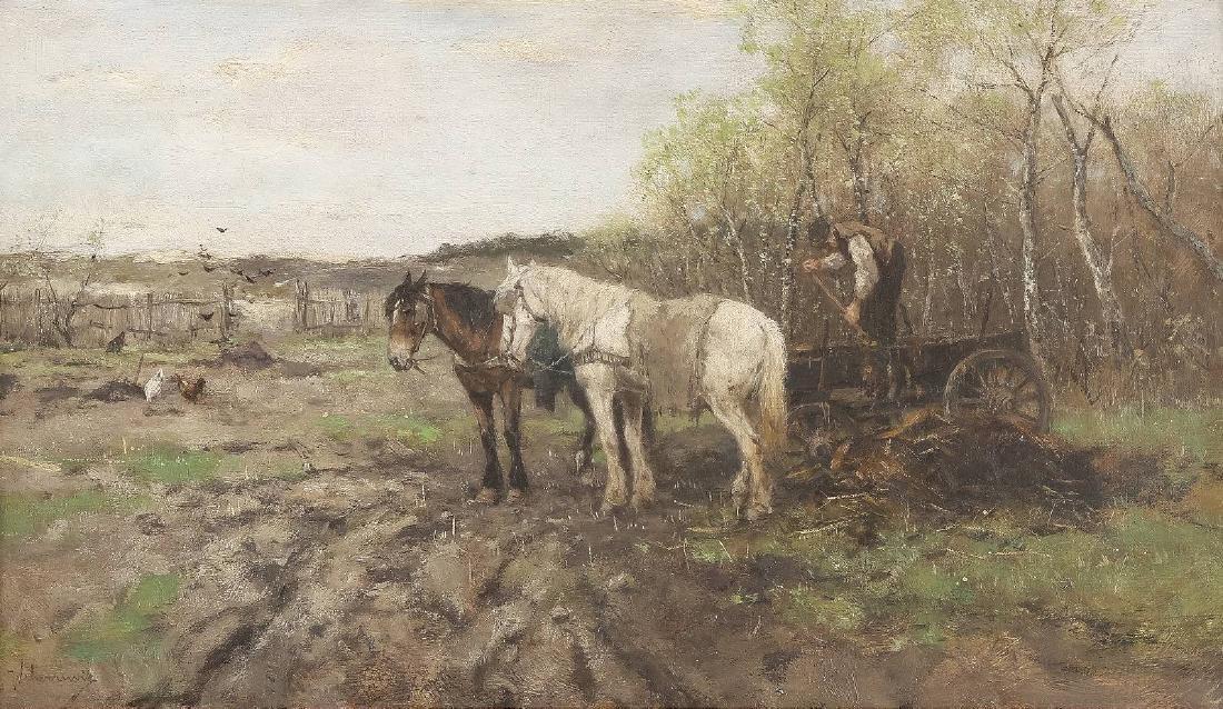 Bauer mit Pferdegespann bei der Feldarbeit