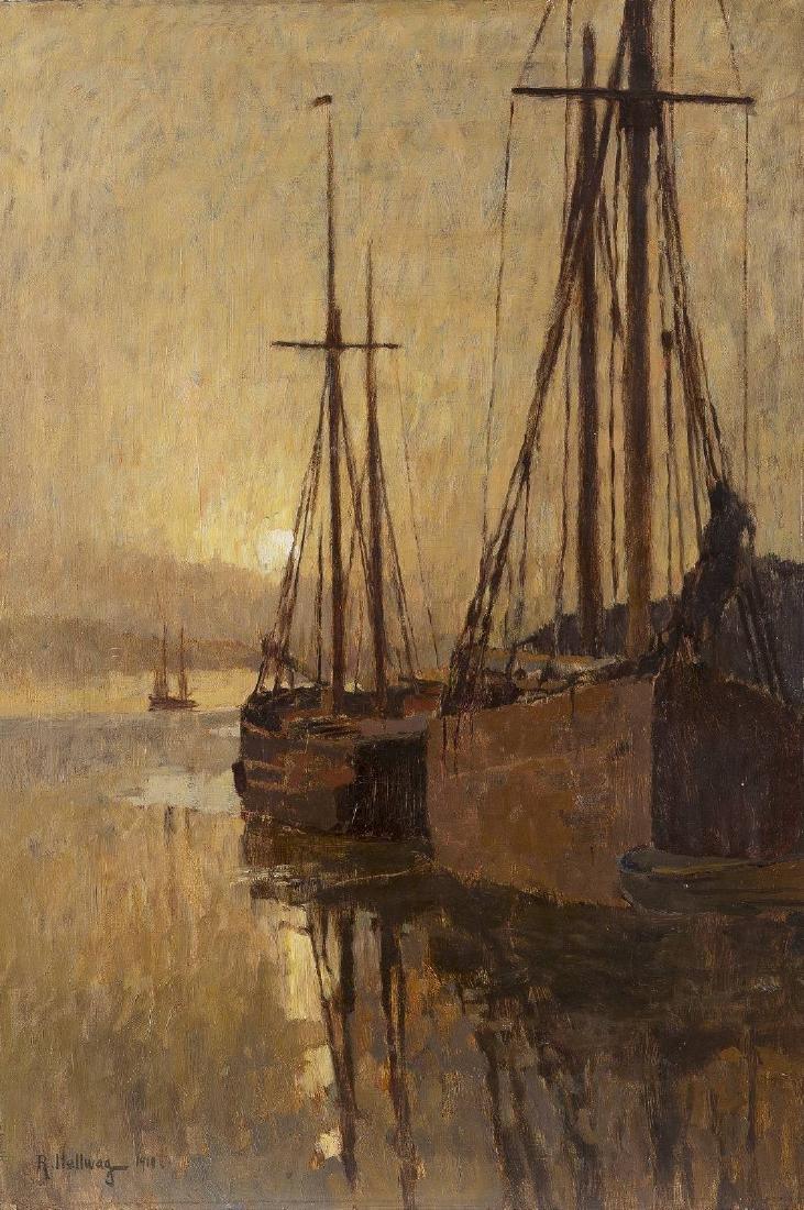 Schiffe bei Sonnenuntergang