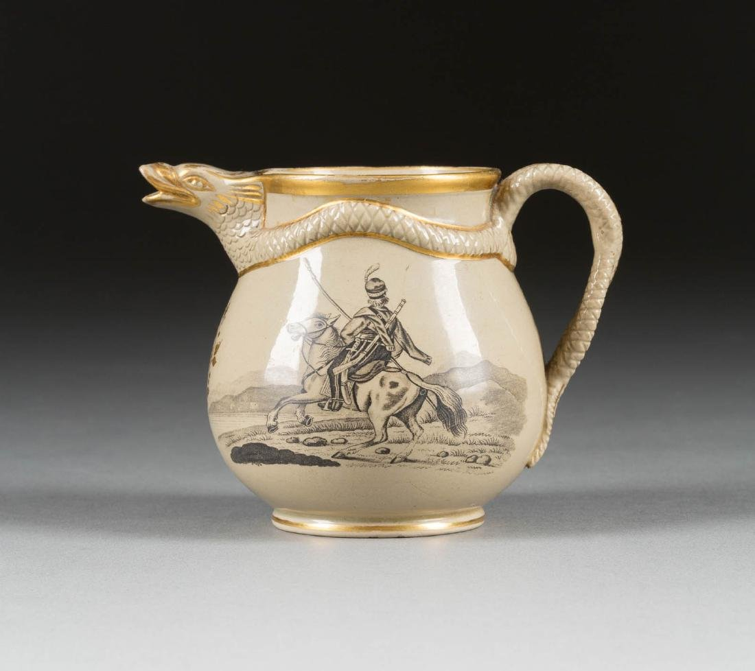 A STONEWARE CREAM JUG WITH AN OFFICER AND A COSSACK ON