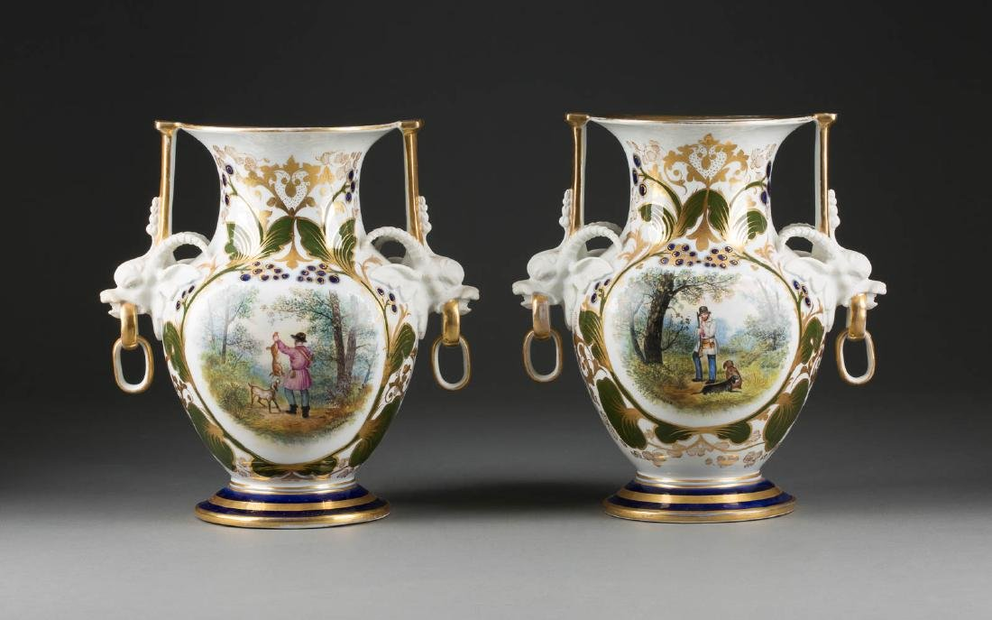 A PAIR OF PORCELAIN VASES WITH HUNTERS Russian,