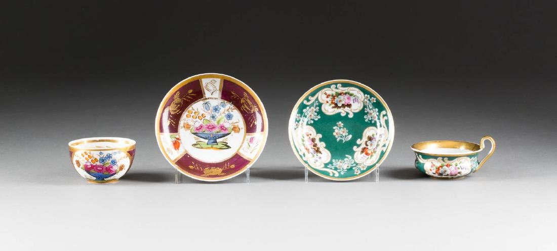 TWO PORCELAIN CUPS WITH SAUCERS Russian, Popov