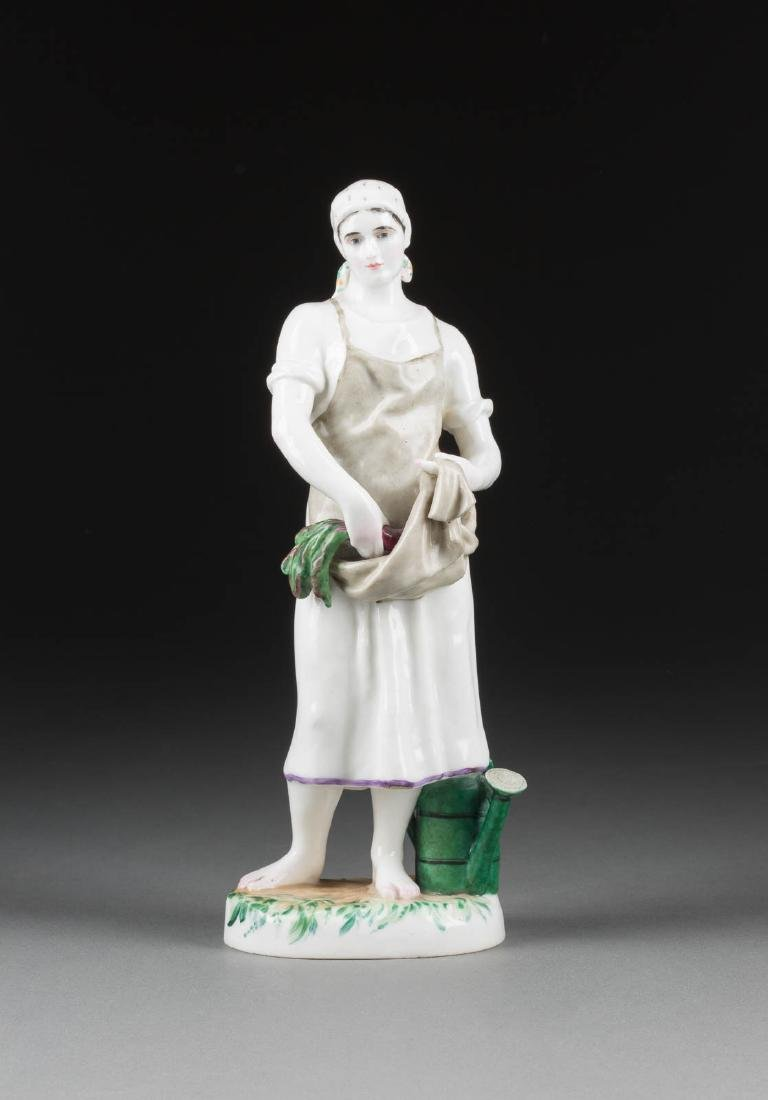 A RARE PORCELAIN FIGURE 'THE GARDENER WITH VEGETABLES