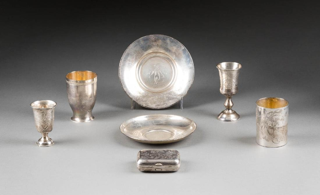 A SILVER PURSE, FOUR BEAKERS AND TWO SAUCERS Russian,