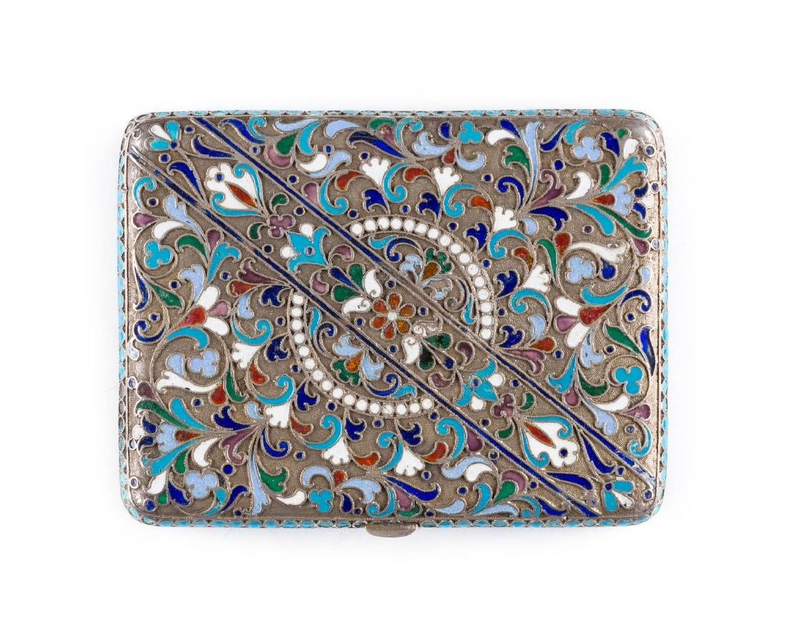 A SILVER AND CLOISONNÉ ENAMEL CIGARETTE CASE Russian,
