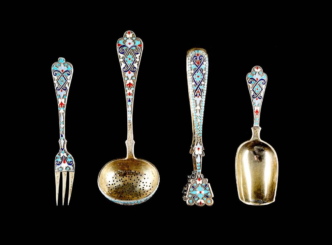 A FOUR-PIECE SET OF SILVER-GILT AND CLOISONNÉ ENAMEL