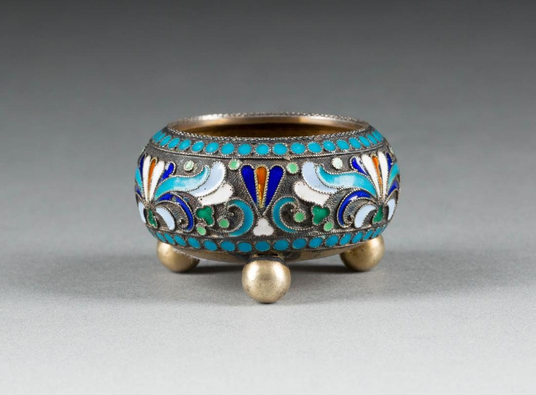 A SILVER-GILT AND CLOISONNÉ ENAMEL SALT Russian,