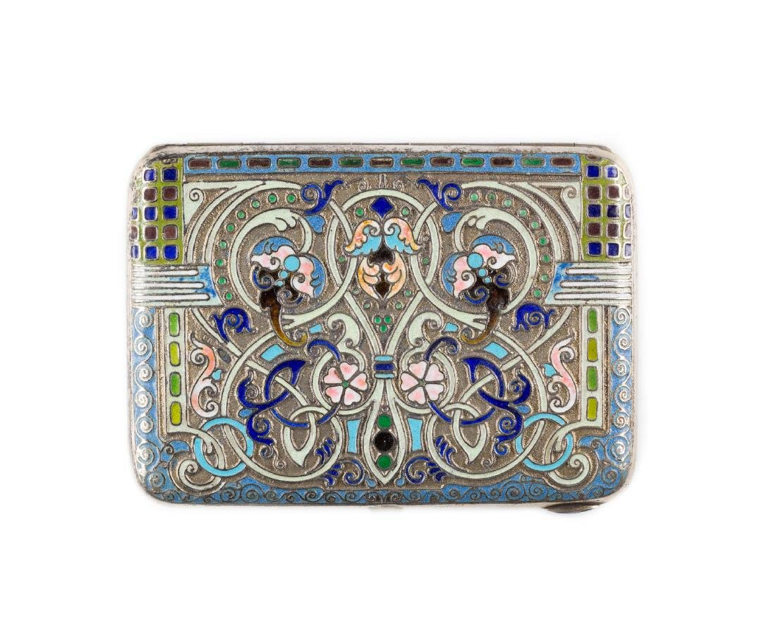 A SILVER-GILT AND SHADED ENAMEL CIGARETTE CASE Russian,