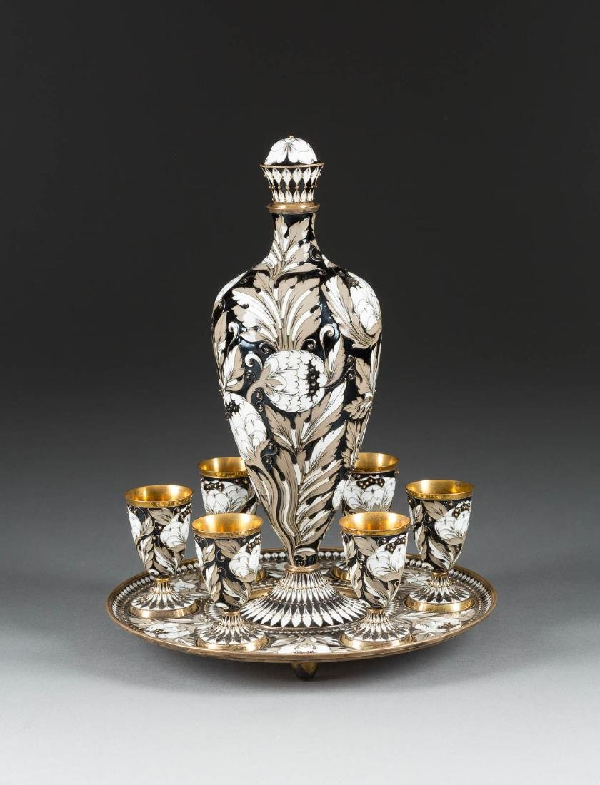 AN EIGHT-PIECE SILVER-GILT AND CLOISONNÉ ENAMEL VODKA