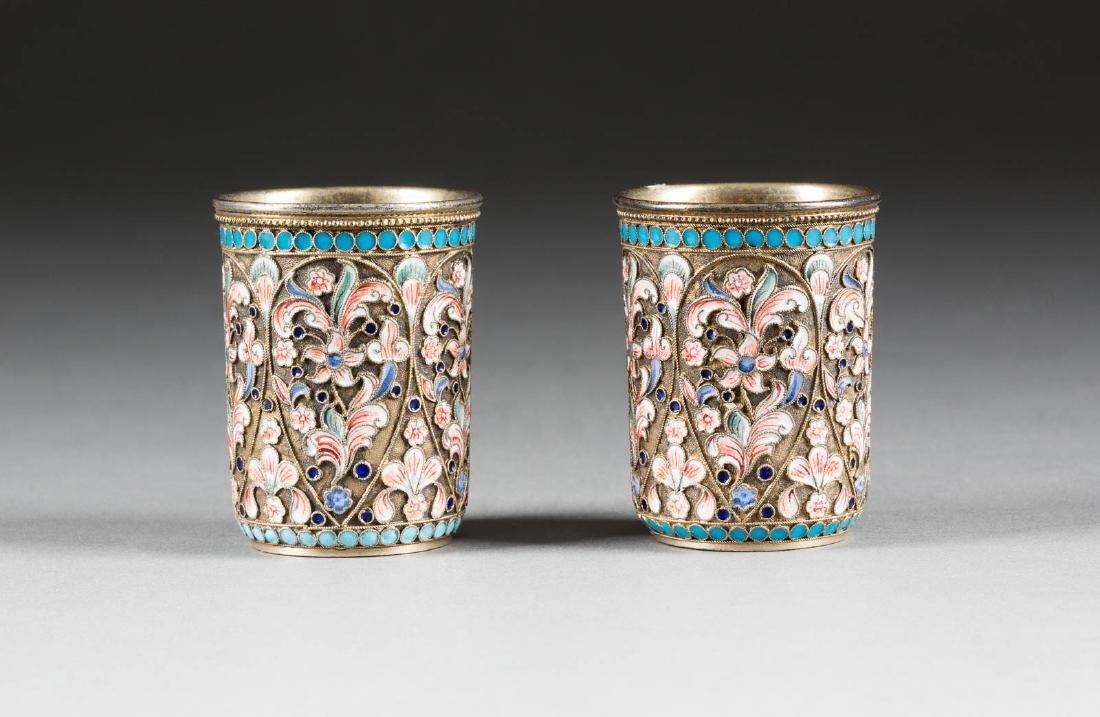 A PAIR OF SILVER-GILT AND CLOISONNÉ ENAMEL VODKA