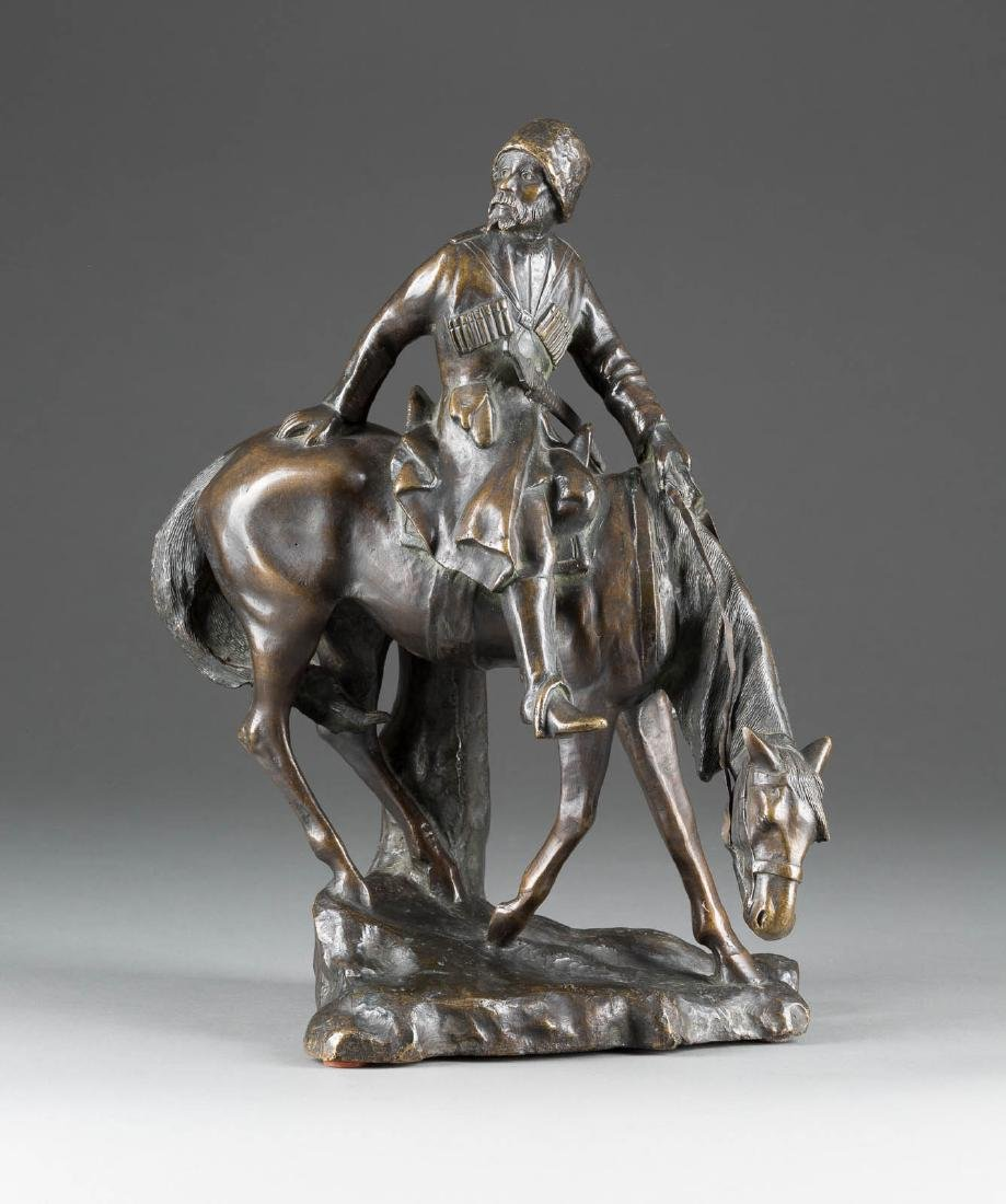 A BRONZE FIGURE OF A COSSACK ON HORSEBACK 2nd half 20th