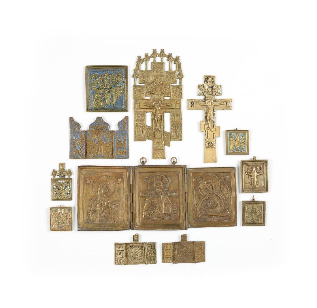 FOUR TRIPTYCHS, FIVE BRASS ICONS AND TWO CRUCIFIXES