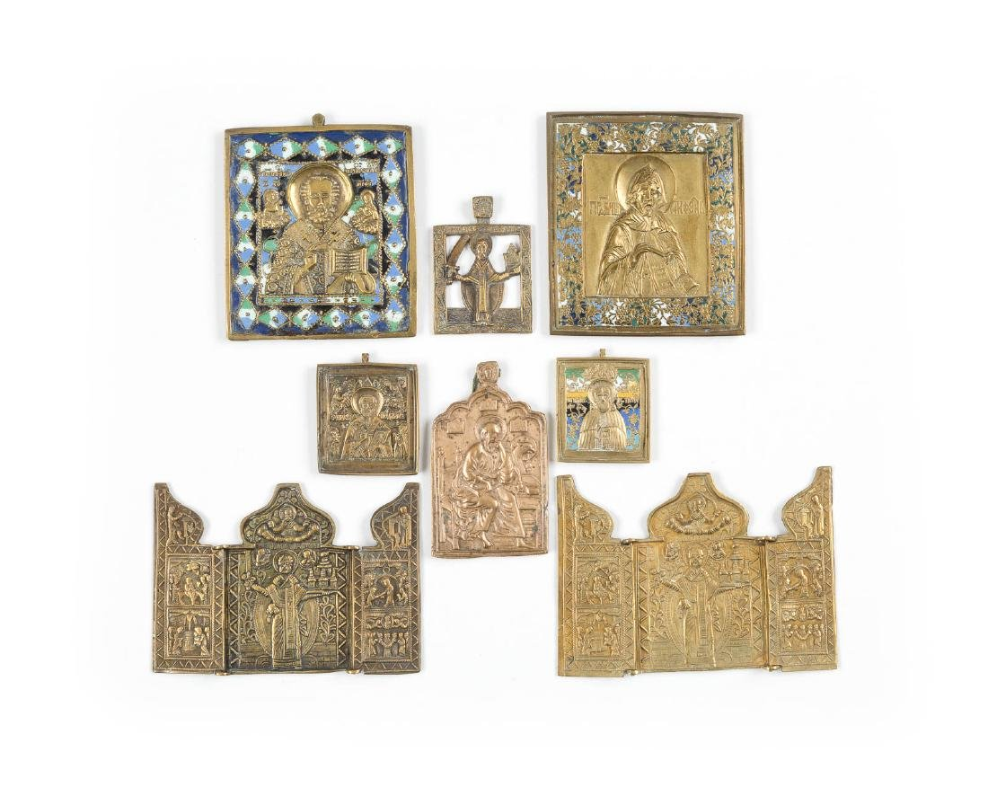 A COLLECTION OF EIGHT BRASS ICONS SHOWING BISHOP SAINTS