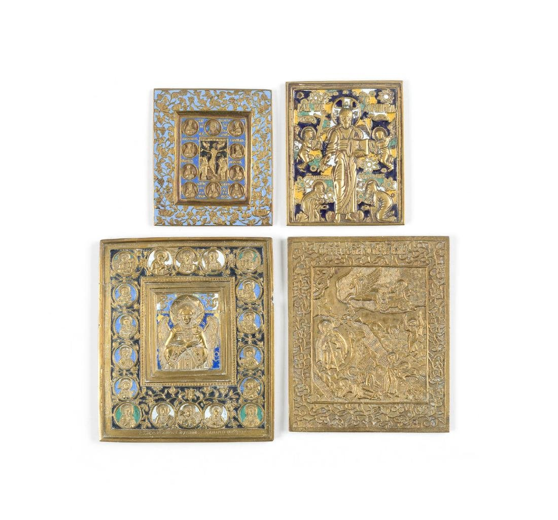 A COLLECTION OF FOUR BRASS ICONS Russian, 19th century