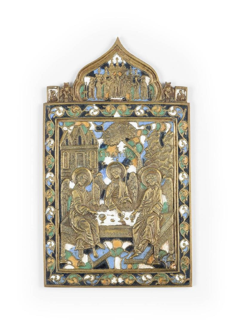 A FINE AND LARGE BRASS AND ENAMEL ICON SHOWING THE OLD