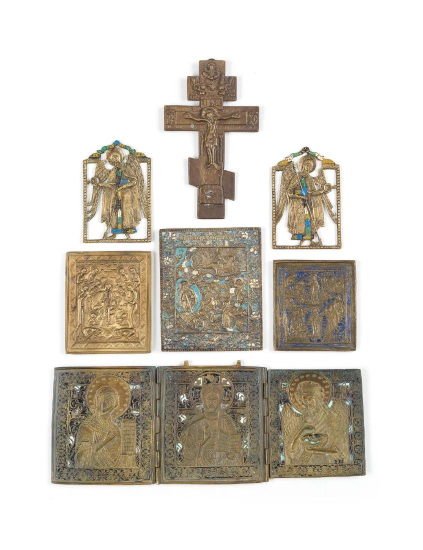 FIVE BRASS ICONS, A TRIPTYCH AND A CRUCRUCIFIX Russian,