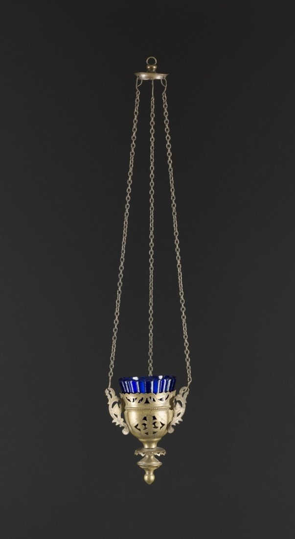 A BRASS SANCTUARY LAMP Russian, late 19th century With