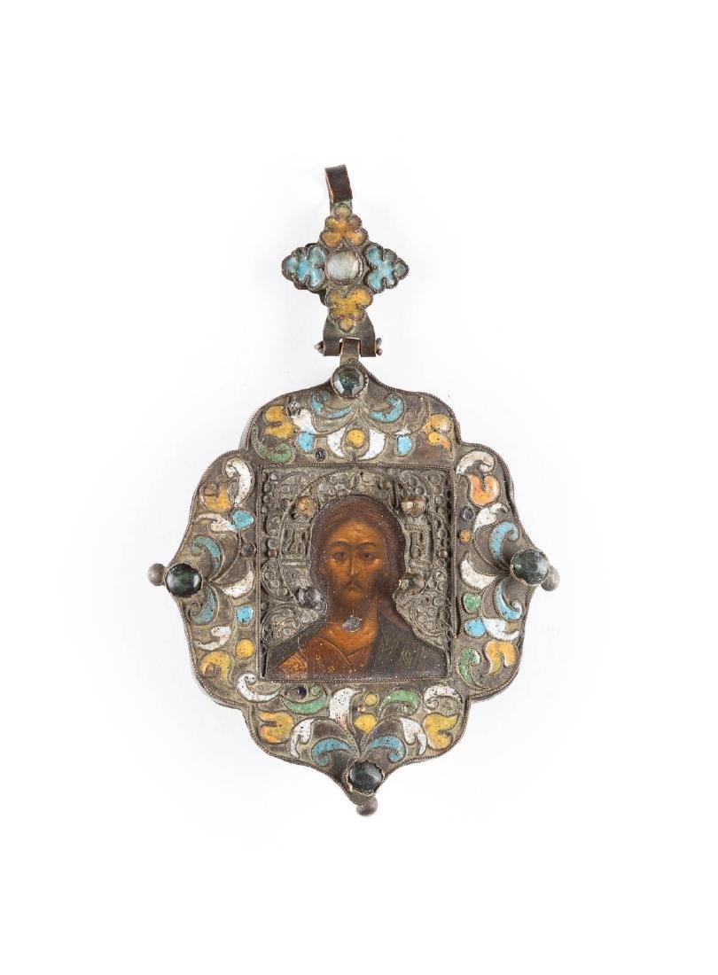 A CLOISONNÉ ENAMEL BREAST ICON SHOWING CHRIST