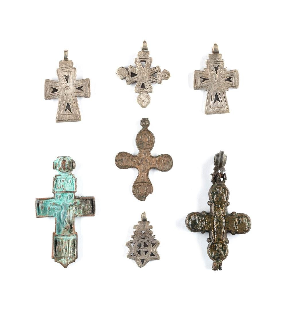 A COLLECTION OF SEVEN METAL BREAST CROSSES Russian,