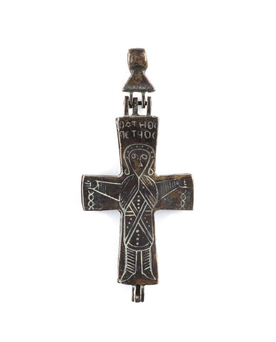A BRONZE ENCOLPION PECTORAL RELIQUARY CROSS Byzantine,