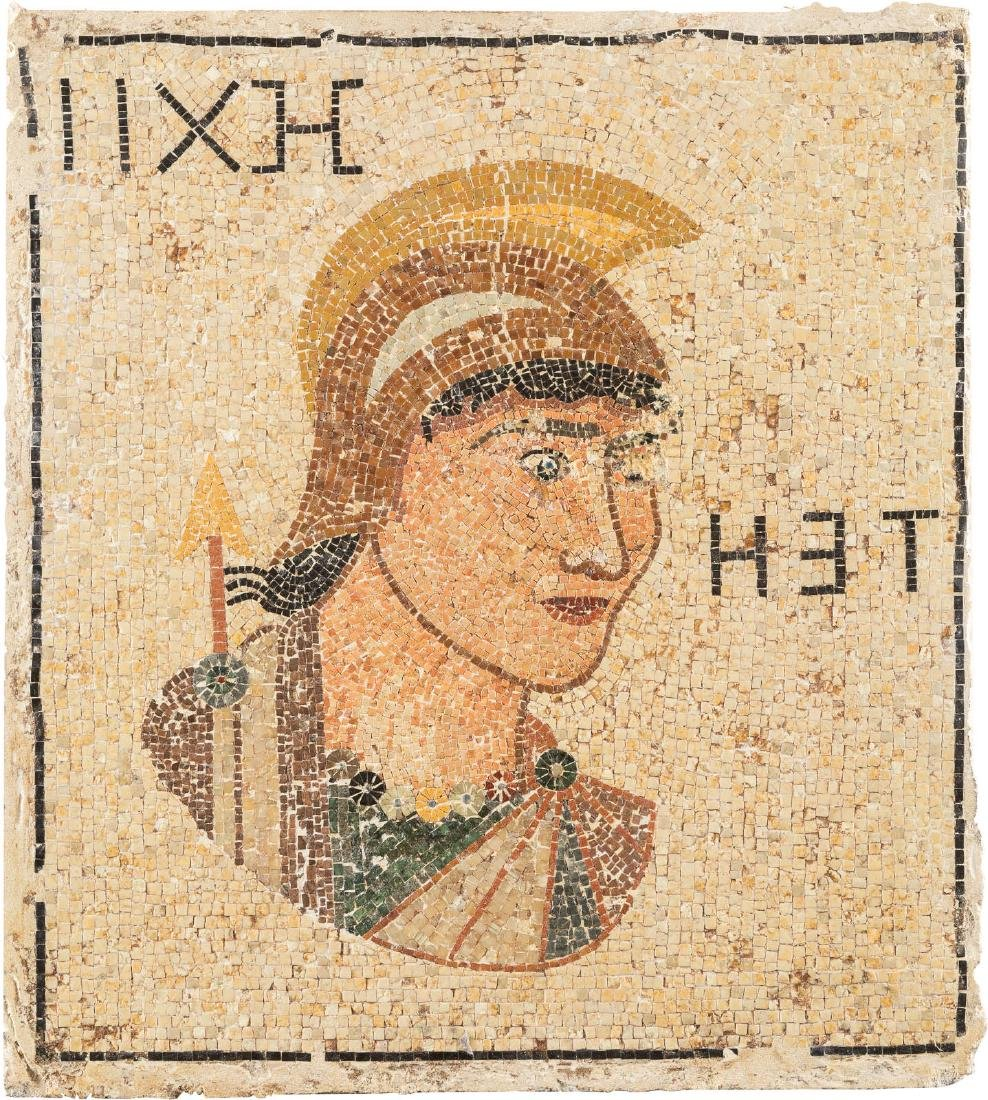 A ROMAN MOSAIC SHOWING A WARRIOR Roman Province,