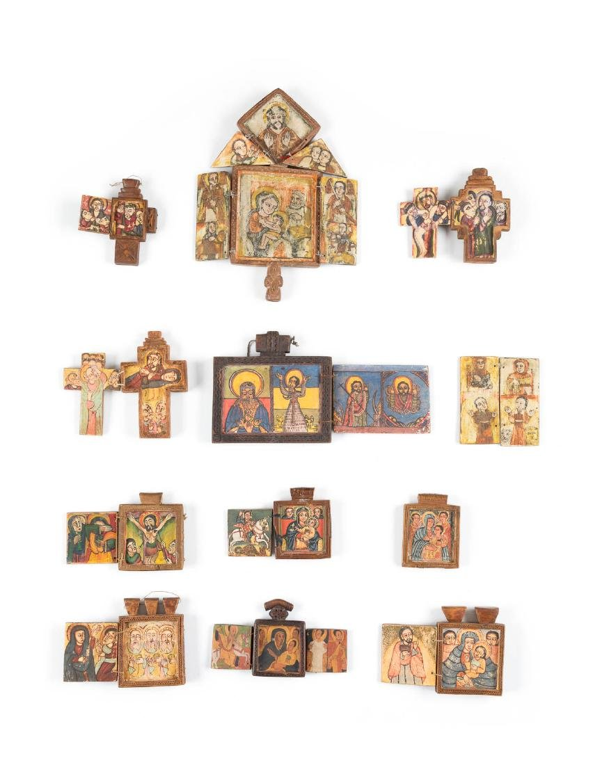 A COLLECTION OF ELEVEN COPTIC ICONS SHOWING THE MOTHER