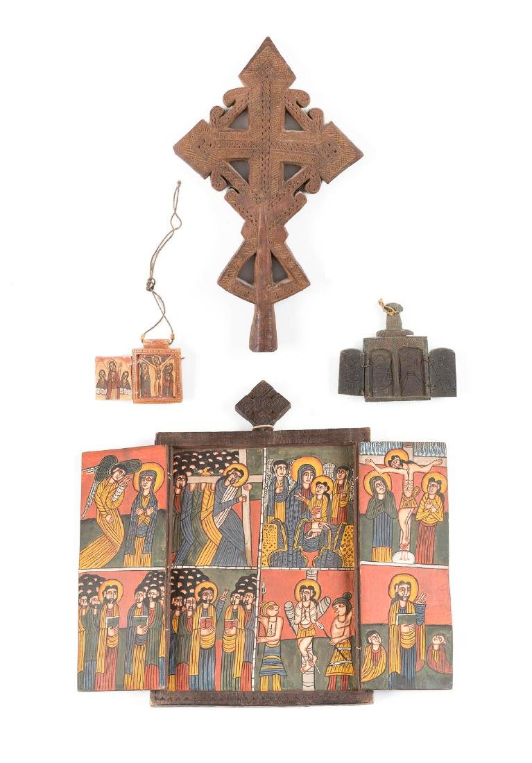 THREE COPTIC ICONS AND A WOODEN PROCESSIONAL CROSS